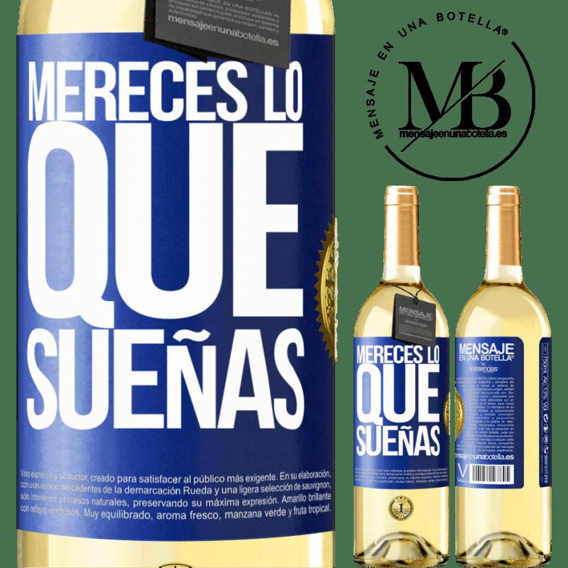 24,95 € Envío gratis   Vino Blanco Edición WHITE Mereces lo que sueñas Etiqueta Azul. Etiqueta personalizable Vino joven Cosecha 2020 Verdejo