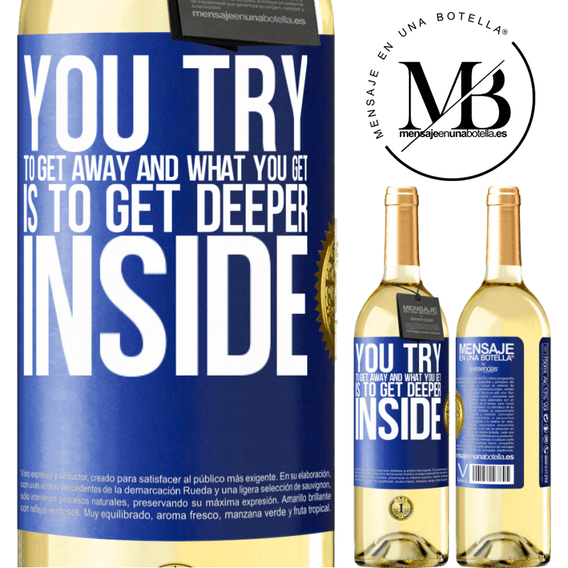 24,95 € Free Shipping | White Wine WHITE Edition You try to get away and what you get is to get deeper inside Blue Label. Customizable label Young wine Harvest 2020 Verdejo