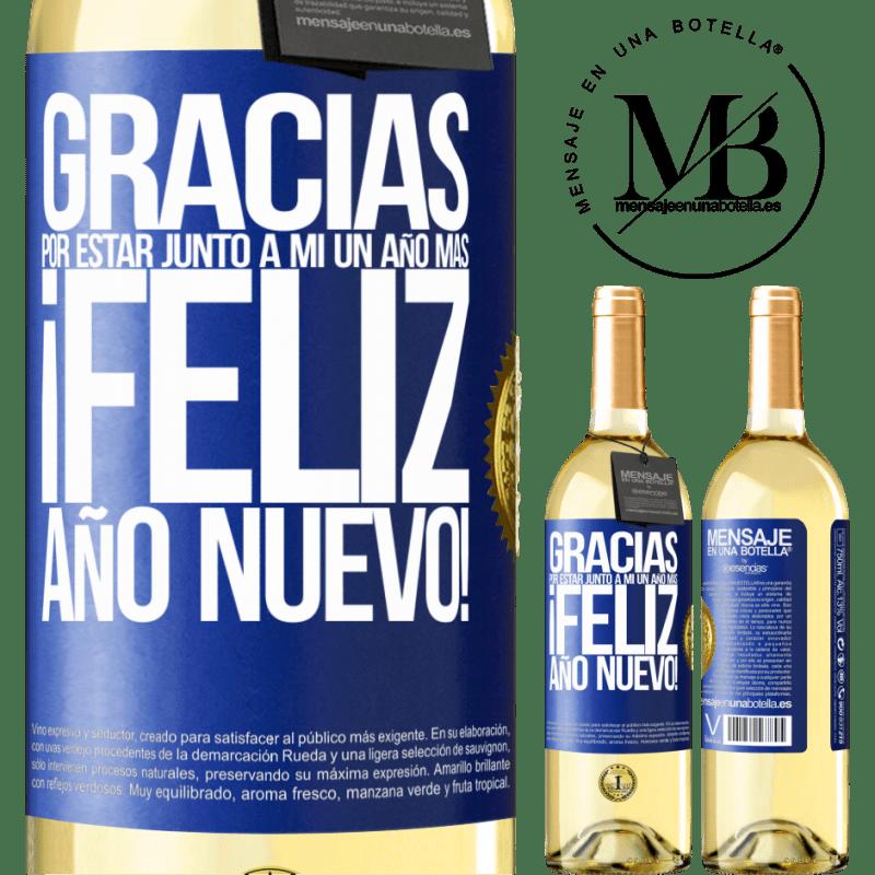 24,95 € Envío gratis | Vino Blanco Edición WHITE Gracias por estar junto a mí un año más. Feliz Año Nuevo! Etiqueta Azul. Etiqueta personalizable Vino joven Cosecha 2020 Verdejo