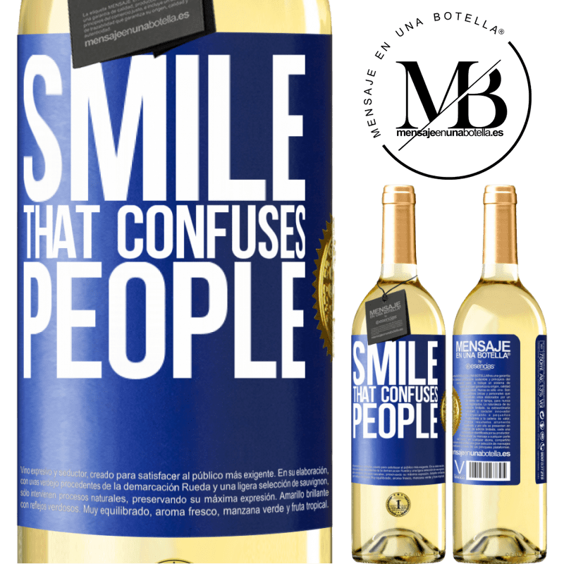 24,95 € Free Shipping | White Wine WHITE Edition Smile, that confuses people Blue Label. Customizable label Young wine Harvest 2020 Verdejo