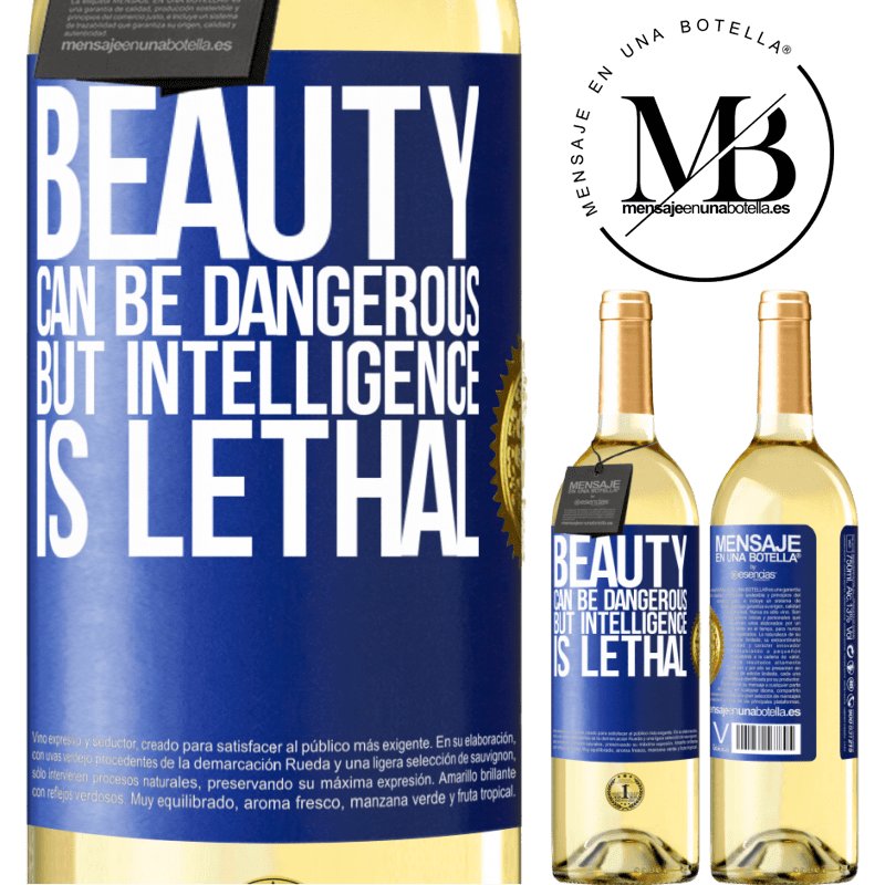 24,95 € Free Shipping   White Wine WHITE Edition Beauty can be dangerous, but intelligence is lethal Blue Label. Customizable label Young wine Harvest 2020 Verdejo