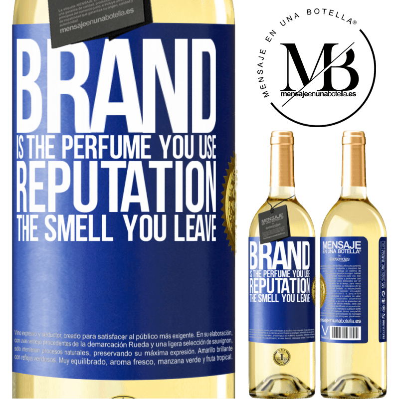 24,95 € Free Shipping   White Wine WHITE Edition Brand is the perfume you use. Reputation, the smell you leave Blue Label. Customizable label Young wine Harvest 2020 Verdejo