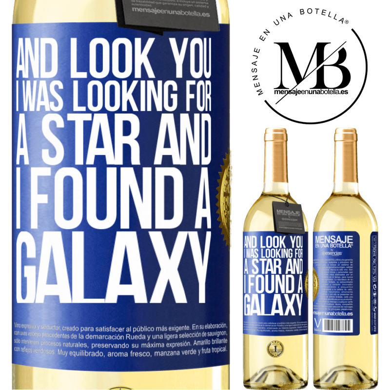 24,95 € Free Shipping | White Wine WHITE Edition And look you, I was looking for a star and I found a galaxy Blue Label. Customizable label Young wine Harvest 2020 Verdejo