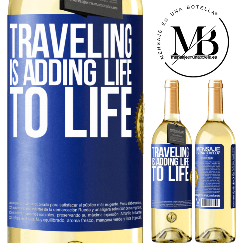 24,95 € Free Shipping | White Wine WHITE Edition Traveling is adding life to life Blue Label. Customizable label Young wine Harvest 2020 Verdejo