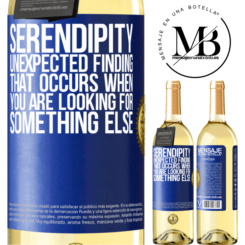 24,95 € Free Shipping   White Wine WHITE Edition Serendipity Unexpected finding that occurs when you are looking for something else Blue Label. Customizable label Young wine Harvest 2020 Verdejo