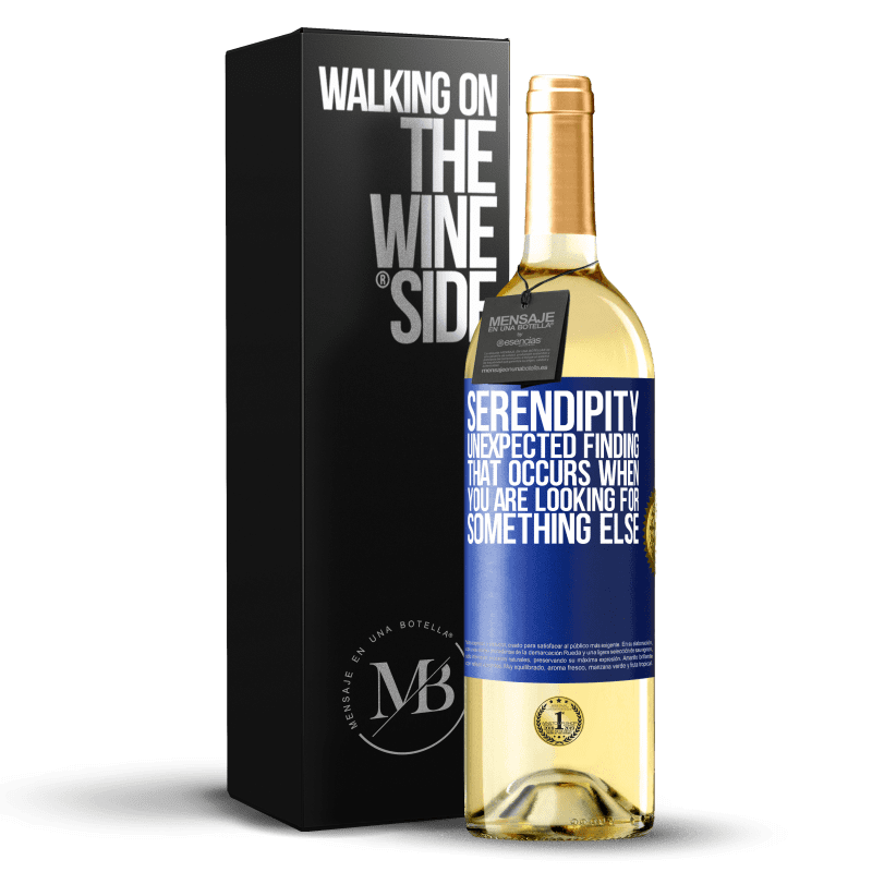 24,95 € Free Shipping | White Wine WHITE Edition Serendipity Unexpected finding that occurs when you are looking for something else Blue Label. Customizable label Young wine Harvest 2020 Verdejo