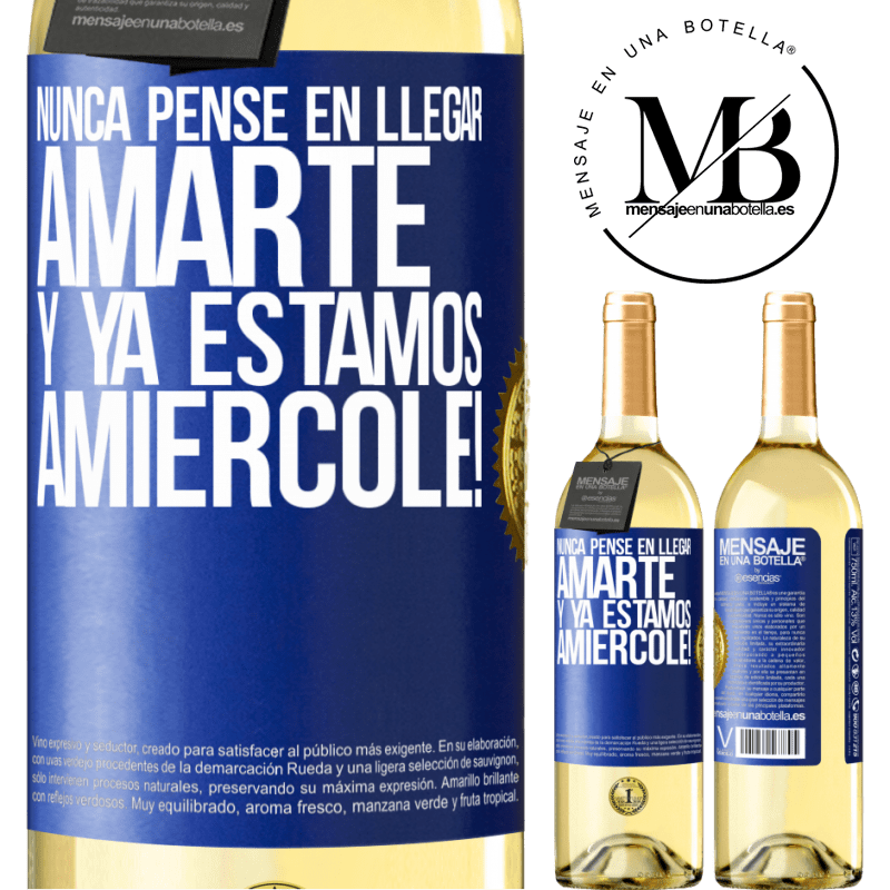 24,95 € Free Shipping | White Wine WHITE Edition I never thought of getting to love you. And we are already Amiércole! Blue Label. Customizable label Young wine Harvest 2020 Verdejo