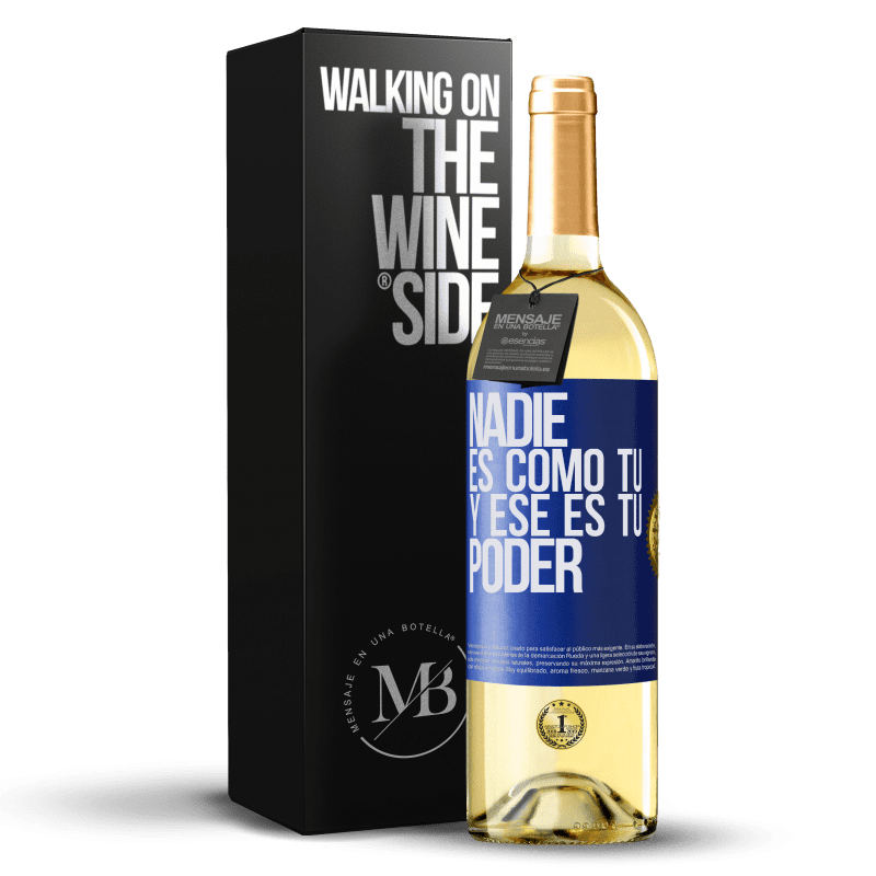 24,95 € Envío gratis   Vino Blanco Edición WHITE Nadie es como tú, y ese es tu poder Etiqueta Azul. Etiqueta personalizable Vino joven Cosecha 2020 Verdejo