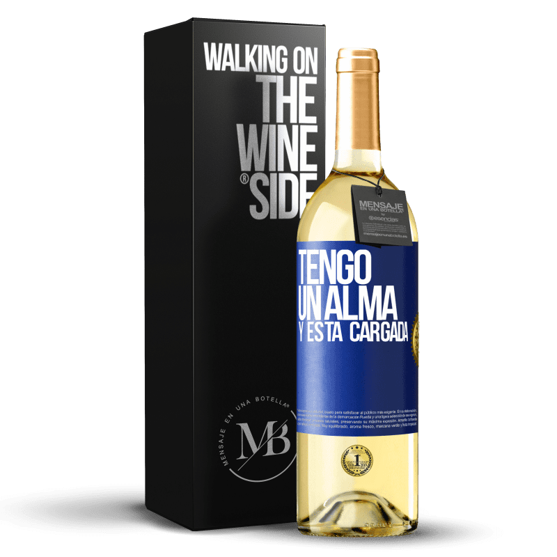 24,95 € Free Shipping | White Wine WHITE Edition Tengo un alma y está cargada Blue Label. Customizable label Young wine Harvest 2020 Verdejo