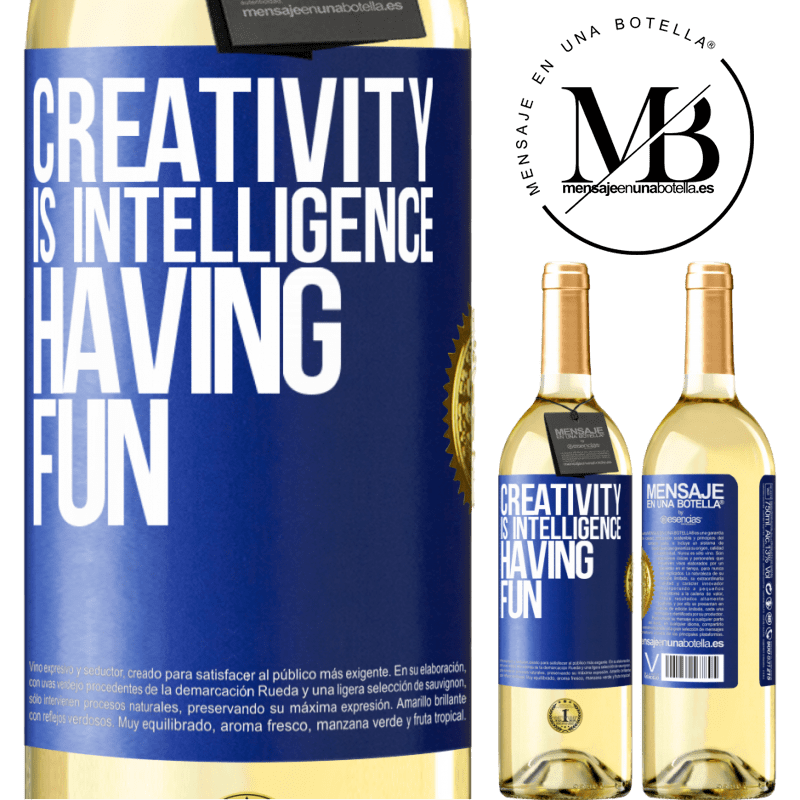 24,95 € Free Shipping   White Wine WHITE Edition Creativity is intelligence having fun Blue Label. Customizable label Young wine Harvest 2020 Verdejo