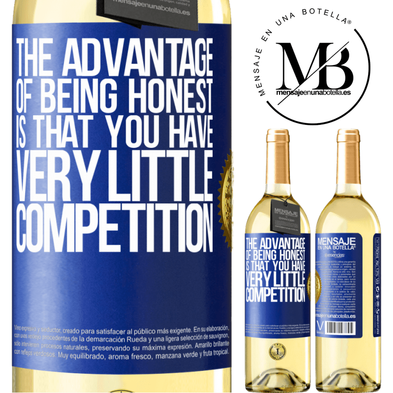24,95 € Free Shipping | White Wine WHITE Edition The advantage of being honest is that you have very little competition Blue Label. Customizable label Young wine Harvest 2020 Verdejo