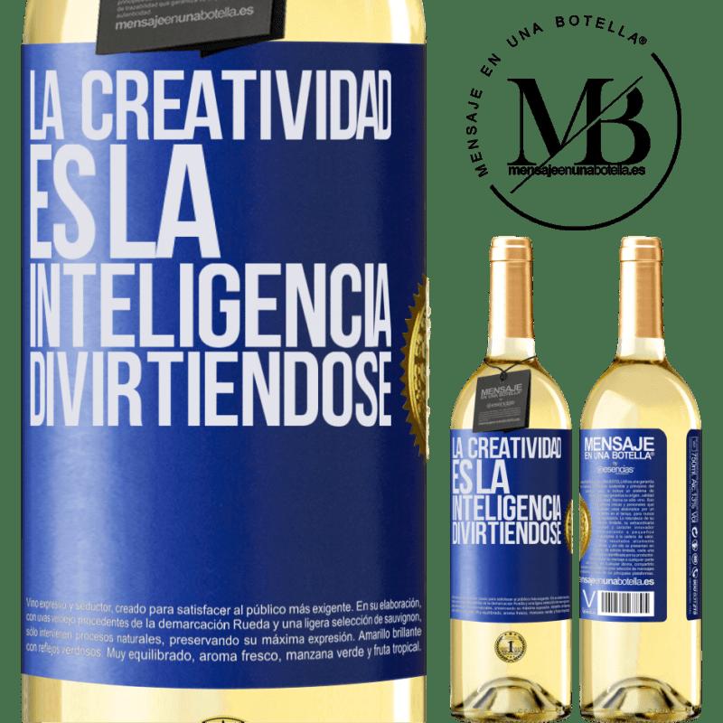 24,95 € Envoi gratuit | Vin blanc Édition WHITE La créativité, c'est l'intelligence qui s'amuse Étiquette Bleue. Étiquette personnalisable Vin jeune Récolte 2020 Verdejo