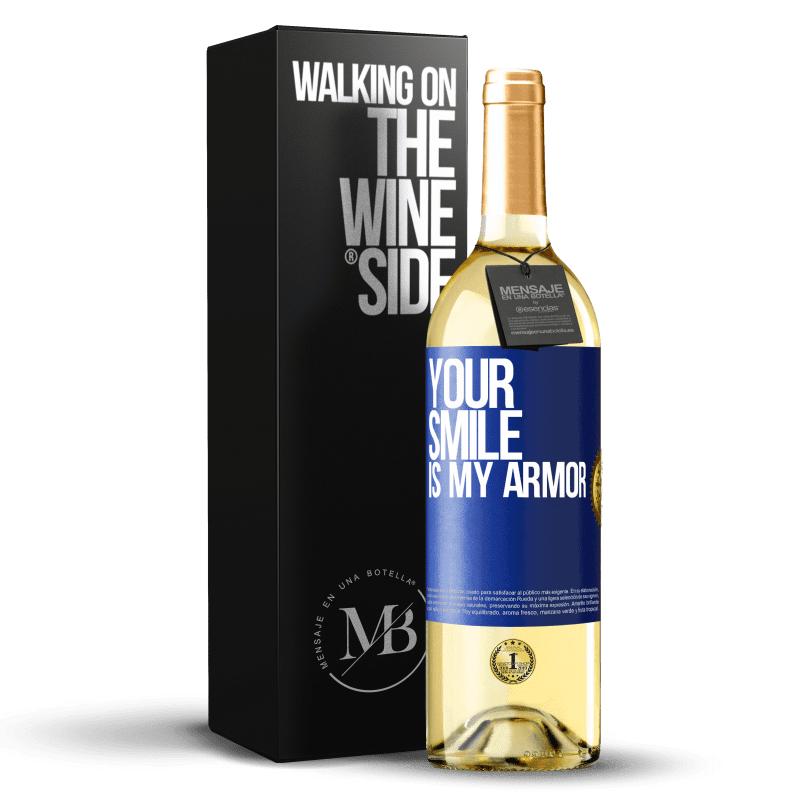 24,95 € Free Shipping | White Wine WHITE Edition Your smile is my armor Blue Label. Customizable label Young wine Harvest 2020 Verdejo