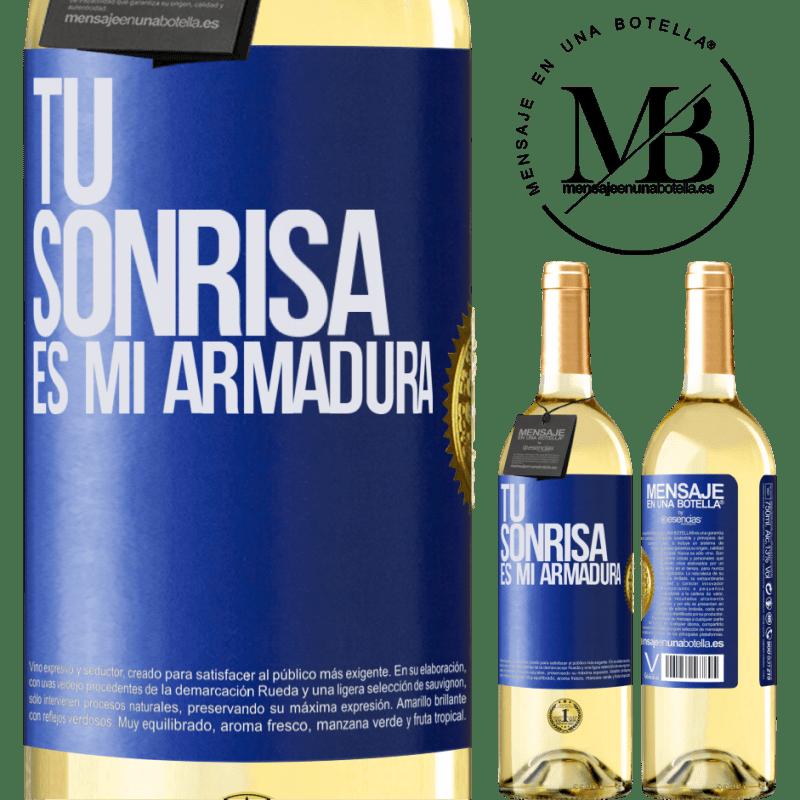 24,95 € Envío gratis | Vino Blanco Edición WHITE Tu sonrisa es mi armadura Etiqueta Azul. Etiqueta personalizable Vino joven Cosecha 2020 Verdejo
