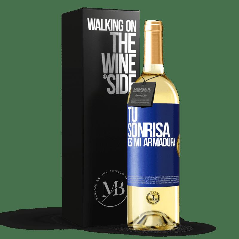 24,95 € Envoi gratuit | Vin blanc Édition WHITE Ton sourire est mon armure Étiquette Bleue. Étiquette personnalisable Vin jeune Récolte 2020 Verdejo