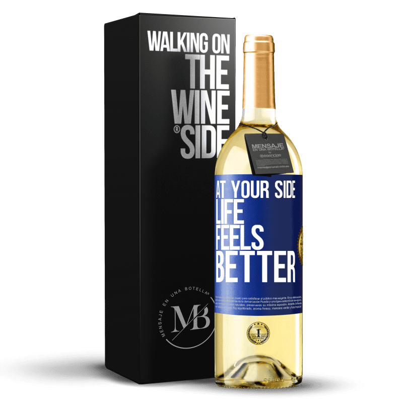 24,95 € Free Shipping | White Wine WHITE Edition At your side life feels better Blue Label. Customizable label Young wine Harvest 2020 Verdejo