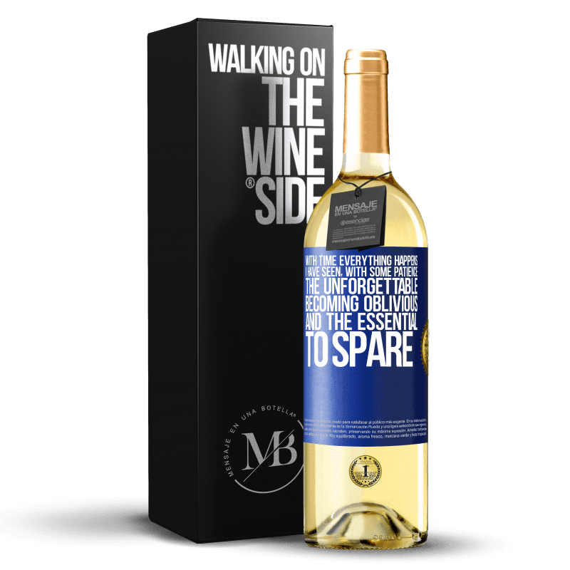24,95 € Free Shipping | White Wine WHITE Edition With time everything happens. I have seen, with some patience, the unforgettable becoming oblivious, and the essential to Blue Label. Customizable label Young wine Harvest 2020 Verdejo