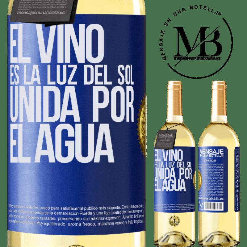 24,95 € Envío gratis | Vino Blanco Edición WHITE El vino es la luz del sol, unida por el agua Etiqueta Azul. Etiqueta personalizable Vino joven Cosecha 2020 Verdejo