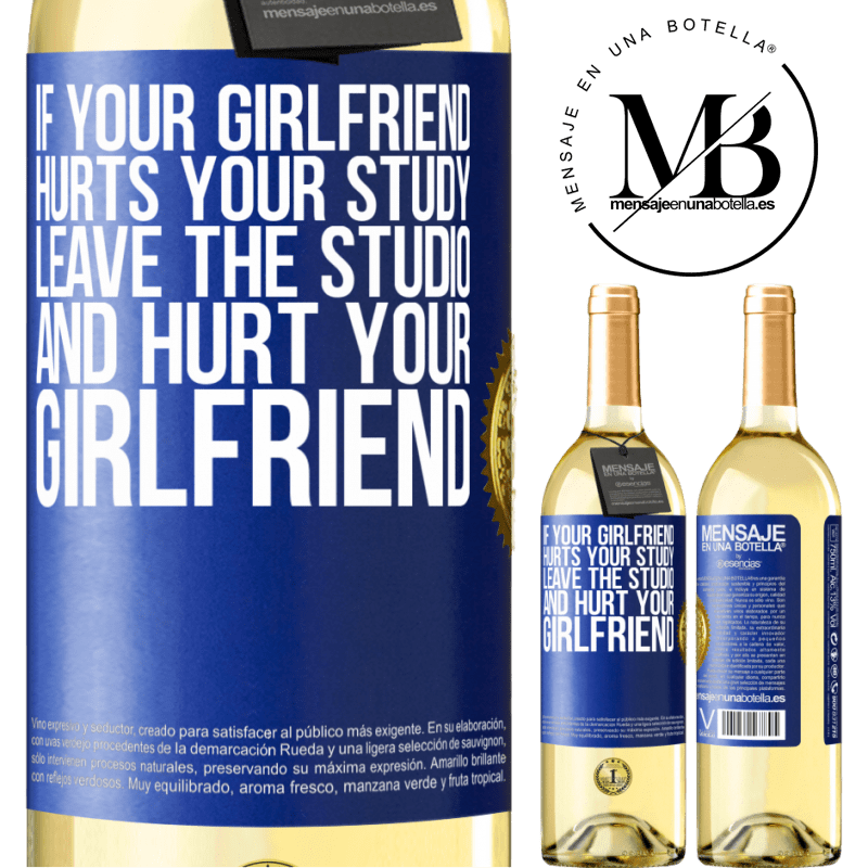 24,95 € Free Shipping | White Wine WHITE Edition If your girlfriend hurts your study, leave the studio and hurt your girlfriend Blue Label. Customizable label Young wine Harvest 2020 Verdejo