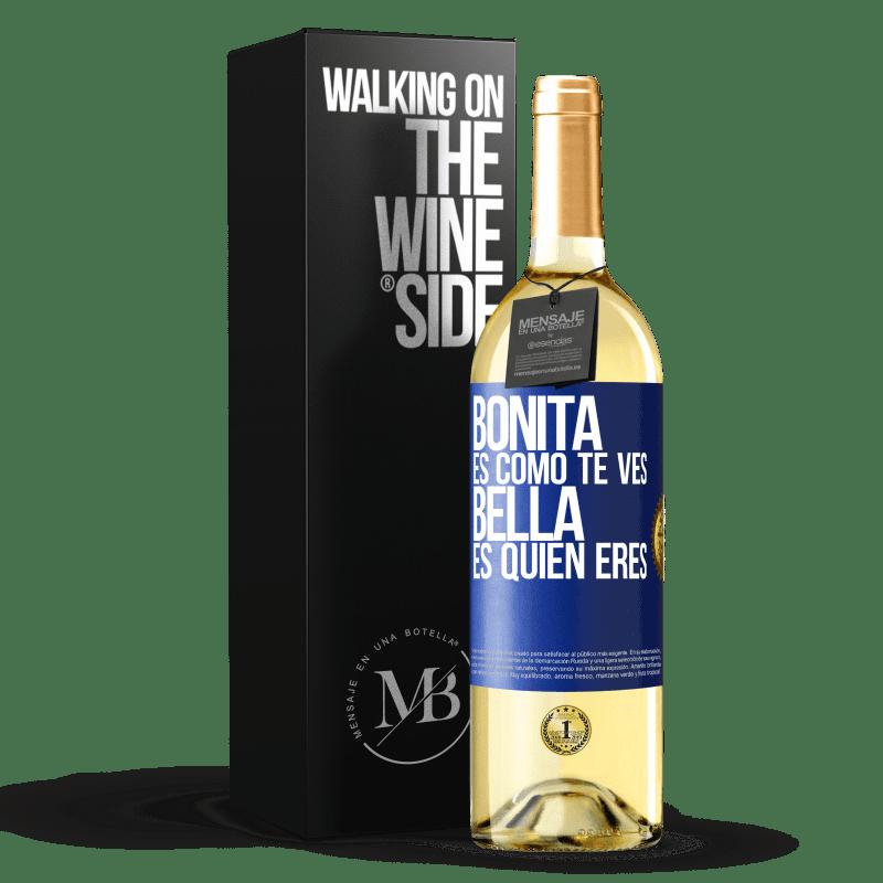 24,95 € Envoi gratuit   Vin blanc Édition WHITE C'est joli à quoi tu ressemble, belle est qui tu es Étiquette Bleue. Étiquette personnalisable Vin jeune Récolte 2020 Verdejo