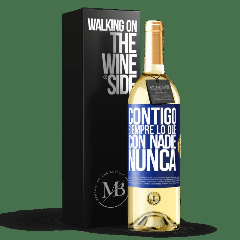 24,95 € Envoi gratuit | Vin blanc Édition WHITE Avec toi toujours avec quiconque Étiquette Bleue. Étiquette personnalisable Vin jeune Récolte 2020 Verdejo