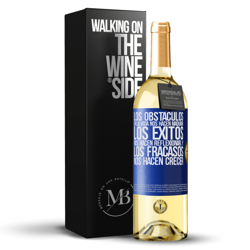 24,95 € Envoi gratuit   Vin blanc Édition WHITE Les obstacles dans la vie nous font mûrir, les succès nous font réfléchir et les échecs nous font grandir Étiquette Bleue. Étiquette personnalisable Vin jeune Récolte 2020 Verdejo