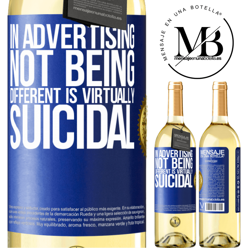 24,95 € Free Shipping   White Wine WHITE Edition In advertising, not being different is virtually suicidal Blue Label. Customizable label Young wine Harvest 2020 Verdejo