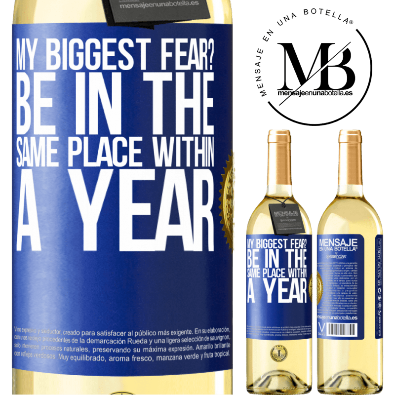 24,95 € Free Shipping   White Wine WHITE Edition my biggest fear? Be in the same place within a year Blue Label. Customizable label Young wine Harvest 2020 Verdejo