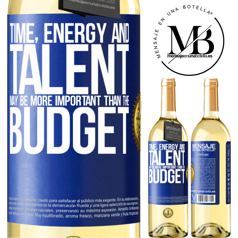 24,95 € Free Shipping | White Wine WHITE Edition Time, energy and talent may be more important than the budget Blue Label. Customizable label Young wine Harvest 2020 Verdejo