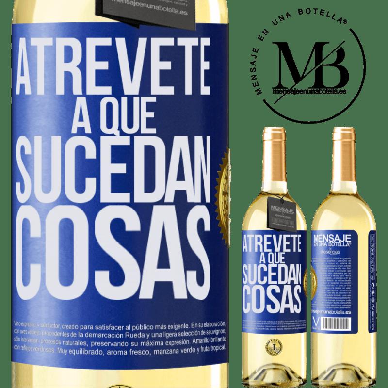 24,95 € Envoi gratuit   Vin blanc Édition WHITE Osez faire bouger les choses Étiquette Bleue. Étiquette personnalisable Vin jeune Récolte 2020 Verdejo