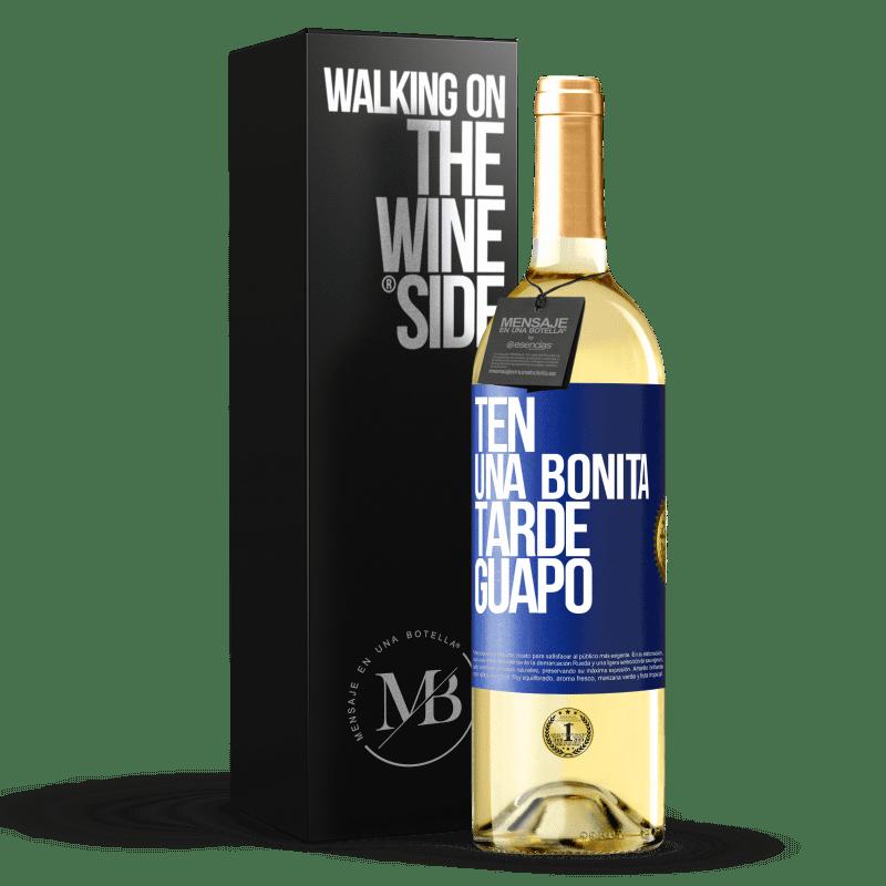 24,95 € Envoi gratuit   Vin blanc Édition WHITE Passez un bon après-midi, beau Étiquette Bleue. Étiquette personnalisable Vin jeune Récolte 2020 Verdejo