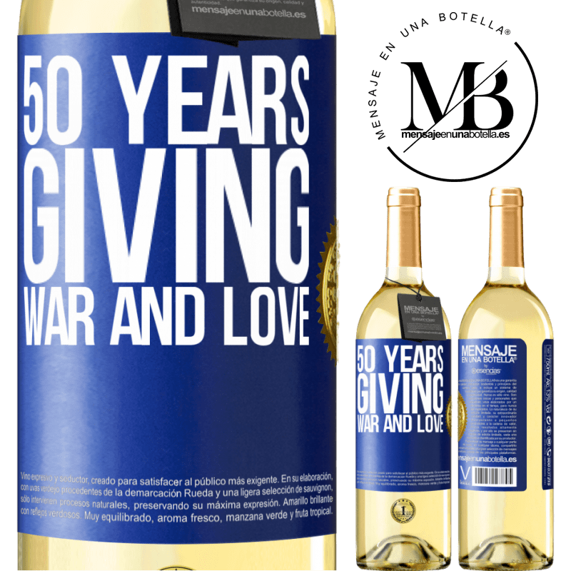 24,95 € Free Shipping | White Wine WHITE Edition 50 years giving war and love Blue Label. Customizable label Young wine Harvest 2020 Verdejo