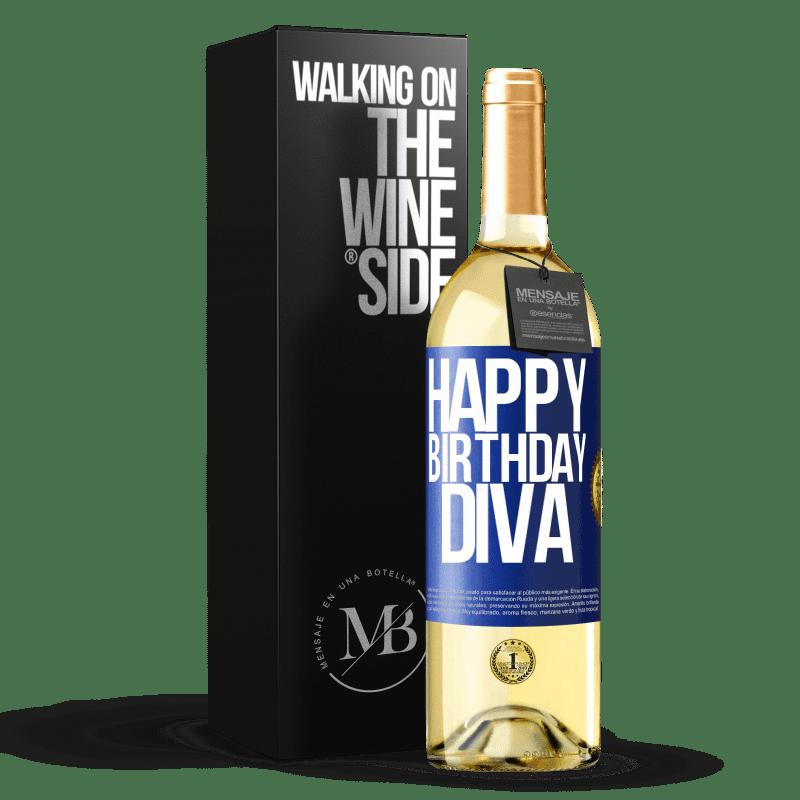 24,95 € Envío gratis | Vino Blanco Edición WHITE Happy birthday Diva Etiqueta Azul. Etiqueta personalizable Vino joven Cosecha 2020 Verdejo