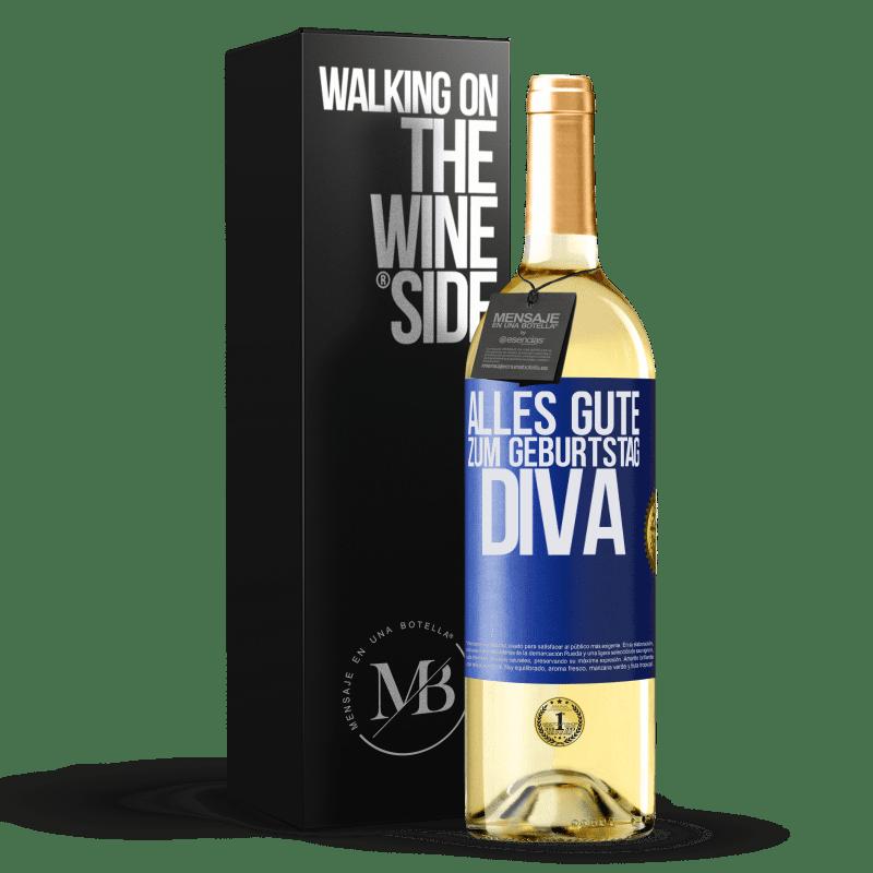 24,95 € Kostenloser Versand | Weißwein WHITE Ausgabe Alles Gute zum Geburtstag Diva Blaue Markierung. Anpassbares Etikett Junger Wein Ernte 2020 Verdejo