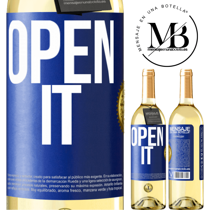 24,95 € Free Shipping | White Wine WHITE Edition Open it Blue Label. Customizable label Young wine Harvest 2020 Verdejo