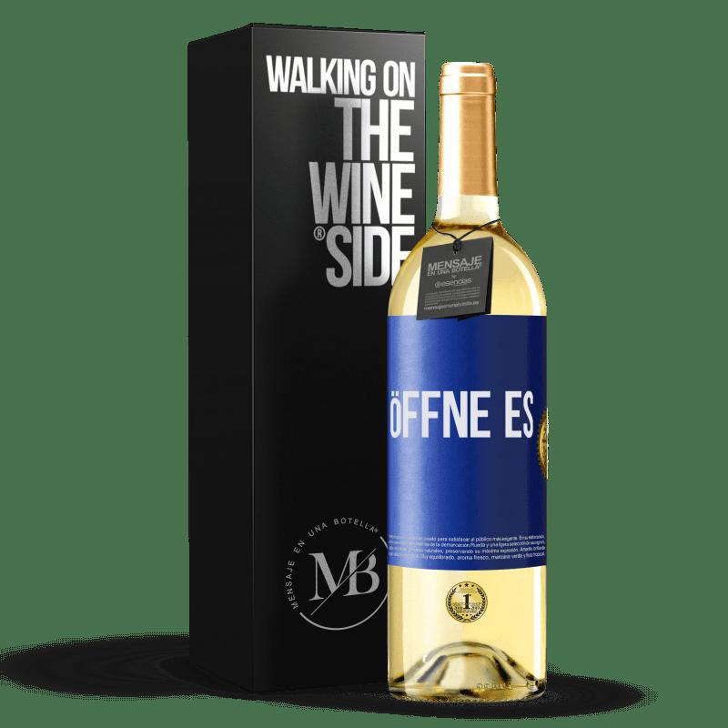 24,95 € Kostenloser Versand | Weißwein WHITE Ausgabe Öffne es Blaue Markierung. Anpassbares Etikett Junger Wein Ernte 2020 Verdejo