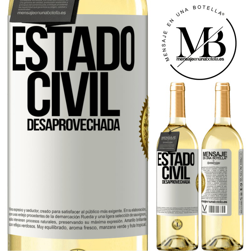 24,95 € Envoi gratuit | Vin blanc Édition WHITE État matrimonial: gaspillé Étiquette Blanche. Étiquette personnalisable Vin jeune Récolte 2020 Verdejo