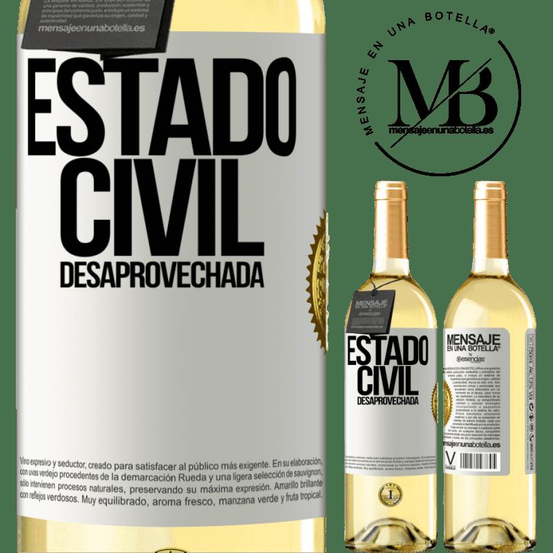 24,95 € Envío gratis | Vino Blanco Edición WHITE Estado civil: desaprovechada Etiqueta Blanca. Etiqueta personalizable Vino joven Cosecha 2020 Verdejo