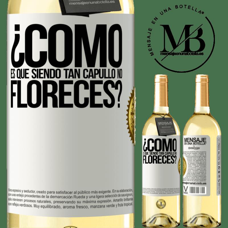 24,95 € Envío gratis | Vino Blanco Edición WHITE ¿Cómo es que siendo tan capullo no floreces? Etiqueta Blanca. Etiqueta personalizable Vino joven Cosecha 2020 Verdejo