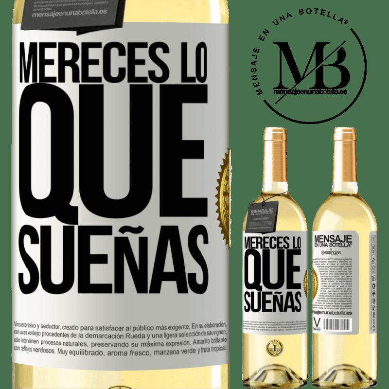 24,95 € Envío gratis   Vino Blanco Edición WHITE Mereces lo que sueñas Etiqueta Blanca. Etiqueta personalizable Vino joven Cosecha 2020 Verdejo