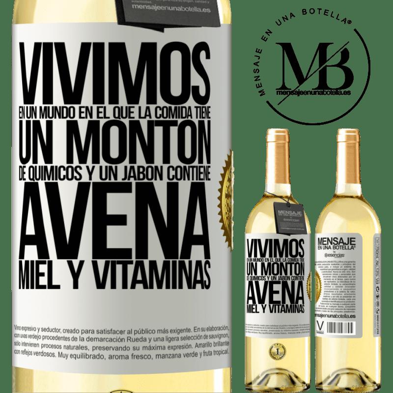 24,95 € Envío gratis   Vino Blanco Edición WHITE Vivimos en un mundo en el que la comida contiene un montón de químicos y un jabón contiene avena, miel y vitaminas Etiqueta Blanca. Etiqueta personalizable Vino joven Cosecha 2020 Verdejo