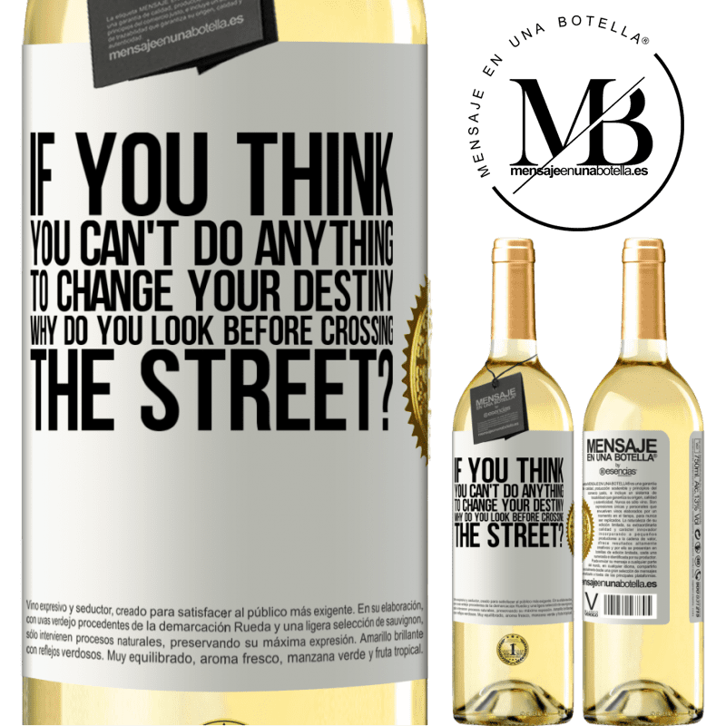 24,95 € Free Shipping   White Wine WHITE Edition If you think you can't do anything to change your destiny, why do you look before crossing the street? White Label. Customizable label Young wine Harvest 2020 Verdejo
