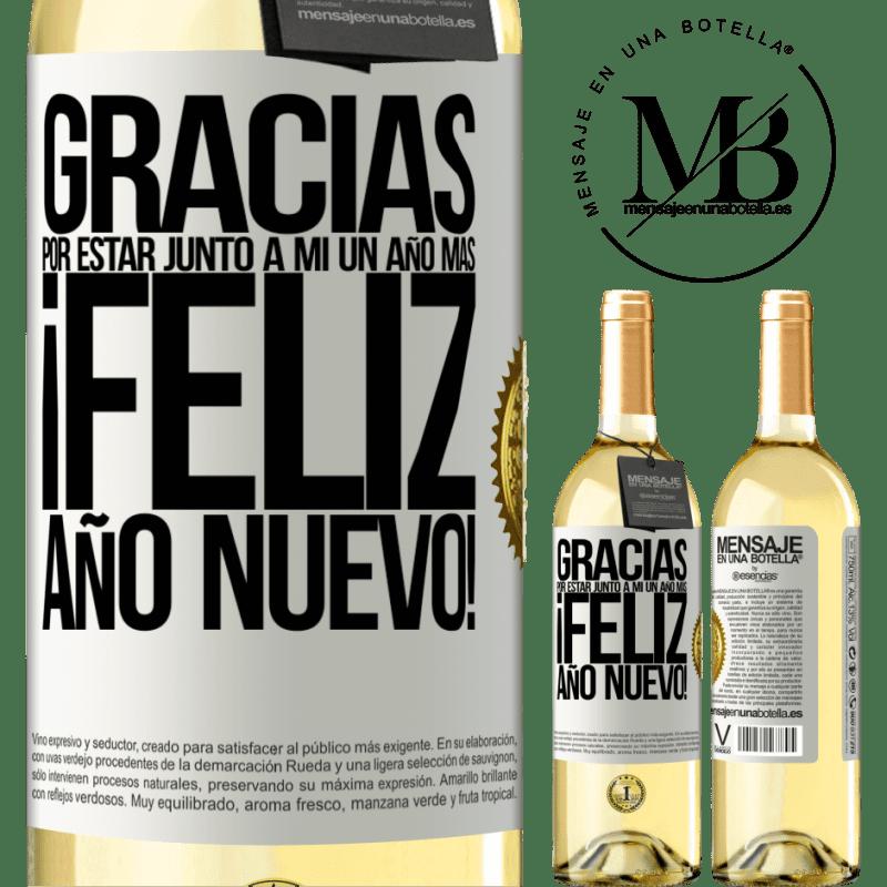 24,95 € Envío gratis | Vino Blanco Edición WHITE Gracias por estar junto a mí un año más. Feliz Año Nuevo! Etiqueta Blanca. Etiqueta personalizable Vino joven Cosecha 2020 Verdejo