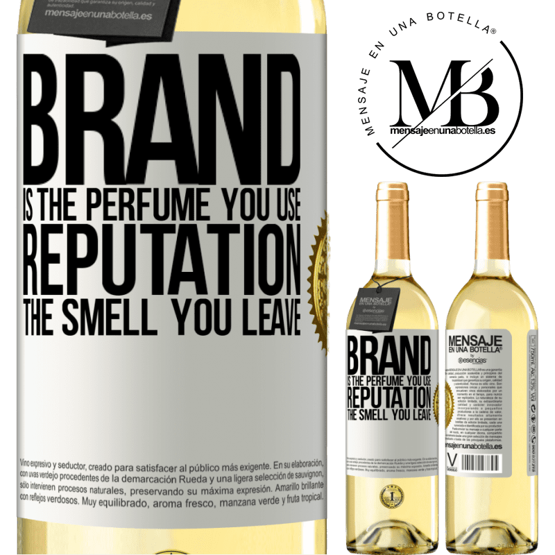 24,95 € Free Shipping   White Wine WHITE Edition Brand is the perfume you use. Reputation, the smell you leave White Label. Customizable label Young wine Harvest 2020 Verdejo