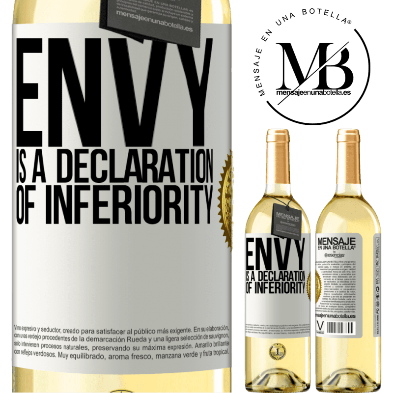 24,95 € Free Shipping | White Wine WHITE Edition Envy is a declaration of inferiority White Label. Customizable label Young wine Harvest 2020 Verdejo