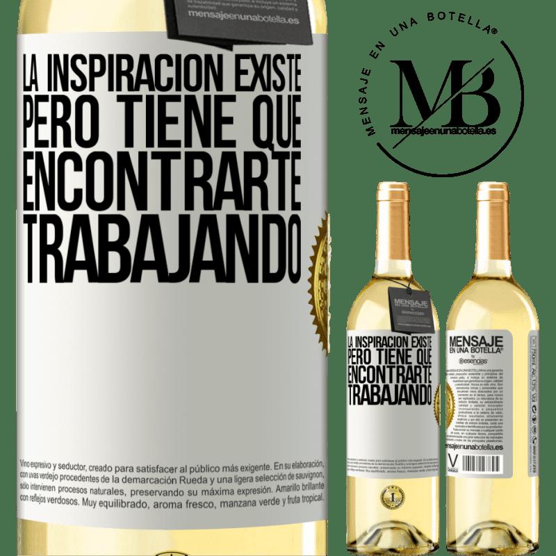 24,95 € Envoi gratuit   Vin blanc Édition WHITE L'inspiration existe, mais elle doit vous trouver en train de travailler Étiquette Blanche. Étiquette personnalisable Vin jeune Récolte 2020 Verdejo