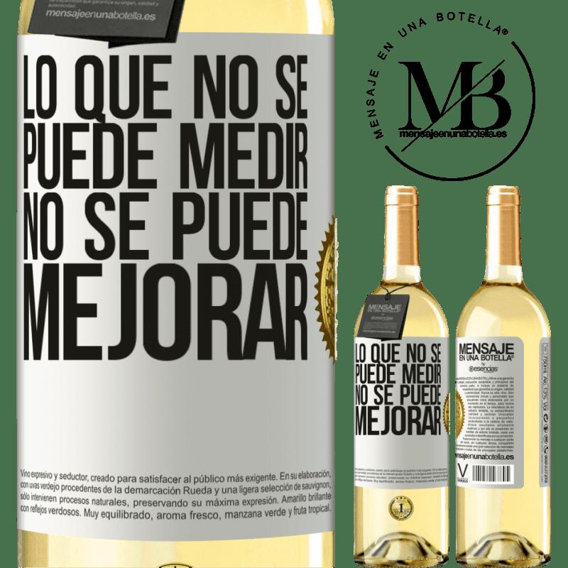 24,95 € Envoi gratuit | Vin blanc Édition WHITE Ce qui ne peut pas être mesuré ne peut pas être amélioré Étiquette Blanche. Étiquette personnalisable Vin jeune Récolte 2020 Verdejo