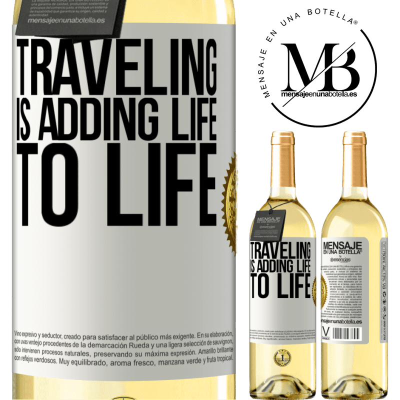 24,95 € Free Shipping | White Wine WHITE Edition Traveling is adding life to life White Label. Customizable label Young wine Harvest 2020 Verdejo