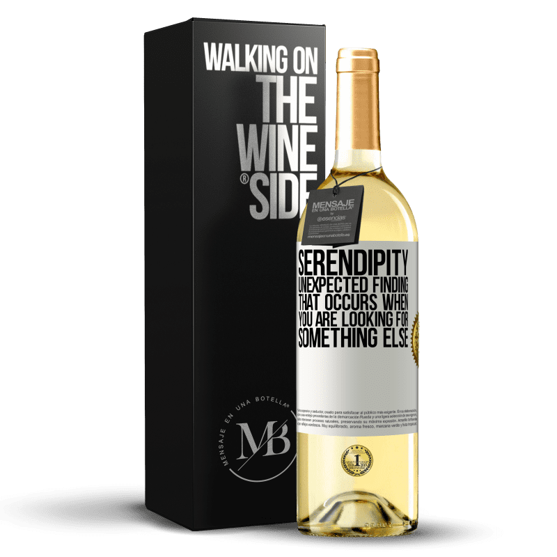24,95 € Free Shipping   White Wine WHITE Edition Serendipity Unexpected finding that occurs when you are looking for something else White Label. Customizable label Young wine Harvest 2020 Verdejo