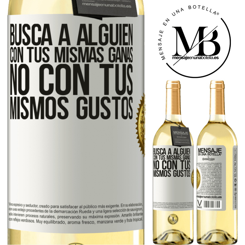 24,95 € Envoi gratuit | Vin blanc Édition WHITE Trouvez quelqu'un avec le même désir, pas avec les mêmes goûts Étiquette Blanche. Étiquette personnalisable Vin jeune Récolte 2020 Verdejo